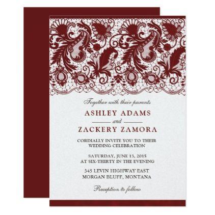 Dark Red Burgundy Lace Elegant Wedding Invitation Zazzle