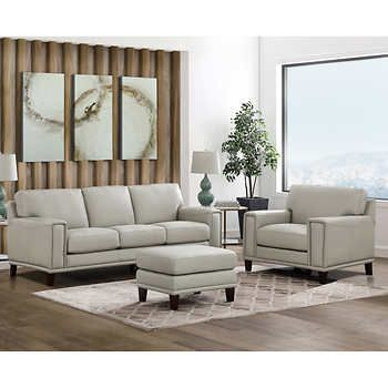 Jensen 3 Piece Leather Set Sofa Chair Ottoman In 2020 Top Grain Leather Sofa 3 Piece Living Room Set Love Seat