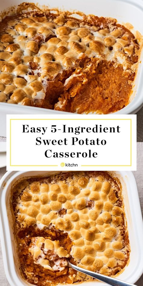 Sweet potato casserole is one of the most popular Thanksgiving side dishes. We're presenting you with this easy, five-ingredient recipe for the best sweet potato casserole. You'll be rewarded with buttery mashed sweet potatoes under a layer of marshmallows.