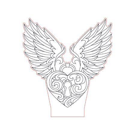 Locked heart wings 3d illusion lamp plan vector file OP