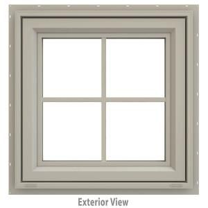 Jeld Wen 23 5 In X 23 5 In V 4500 Series Desert Sand Vinyl Awning Window With Colonial Grids Grilles Thdjw140000184 The Home Depot In 2020 Jeld Wen Window Awnings Window Design