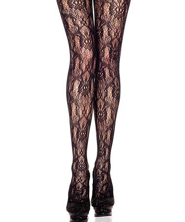 Take a look at this Black Lace Tights by Music Legs on #zulily today!