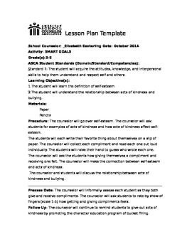 This Lesson Plan Will Teach Students The Importance Of Selfesteem - School counselor lesson plan template