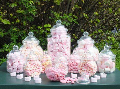 19 rétro vintage en plastique Pots Bonbon Buffet Sweet Shop mariage Kids Party Kit