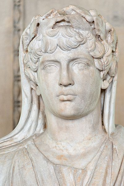 Portrait of Antinous (AD 112–130) as a priest of the imperial cult. Found in Cyrene, Libya.
