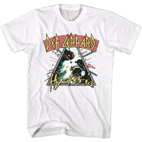 Def Leppard-Arched Lines Hysteria-White Adult S/S Tshirt - XL / WHITE
