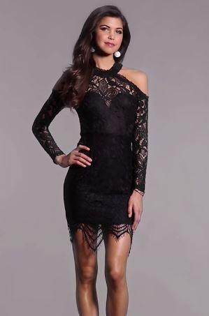 2019 Abiye Modelleri Ve Sik Gece Elbiseleri Siyah Kisa Tek Omzu Acik Uzun Kol Gupur Dantelli Elbise The Dress Mini Elbiseler