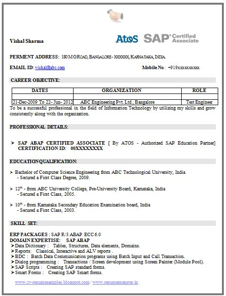 Sap Abap Resume Sample Captivating Pratik Vaidya Pratikvaidya9 On Pinterest