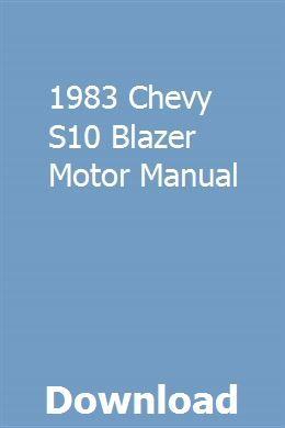 1983 Chevy S10 Blazer Motor Manual Pdf Download Full Online Clumunmanlism Repair Manuals Installation Manual Manual