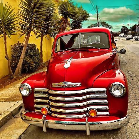 Shining Red Paintwork On Edited Scene Of Classic Car In America Photographic Print Salvatore Elia Art Com Classic Chevy Trucks Vintage Trucks Classic Cars