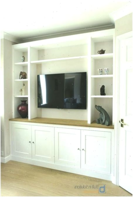 Modern Built In Tv Media Unit In Shaker Design Livingroomfurnituremakeover Tvunitmodern Bu Built In Tv Unit Built In Tv Cabinet Built In Shelves Living Room