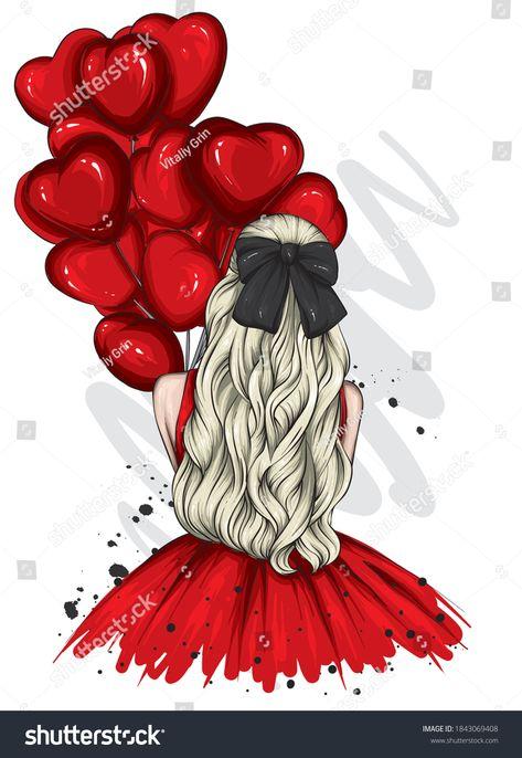 Girl Beautiful Dress Long Hair Bow Stock Vector (Royalty Free) 1843069408