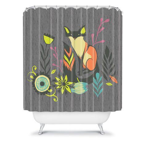 Sarah Watts Sly Fox Shower Curtain #fox #animal #bath #bathroom