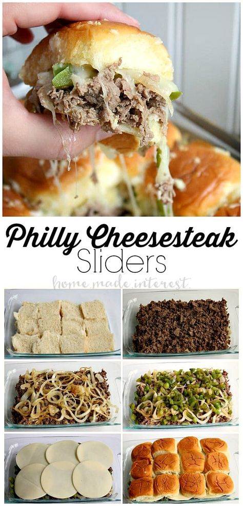 These Philly Cheesesteak sliders are a great football party food idea. They are great for feeding a crowd! Make everyone happy at your next game day party with this easy slider recipe! Philly Cheesesteak Sliders are a football appetizer recipe that everyo Diet Food To Lose Weight, Philly Cheese Steak Sliders, Chicken Sliders, Beef Recipes, Cooking Recipes, Crowd Recipes, Easy Recipes, Cheap Recipes, Cooking Games