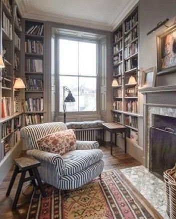 Cozy Home Library With Fireplace And Striped Arm Chair In 2020 Cozy Home Library Home Library Design Reading Room Decor