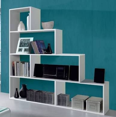 Verona Camila Modern Step Open Back Bookcase Bookshelf White Gloss Wall Shelving Units White Bookcase Step Bookcase