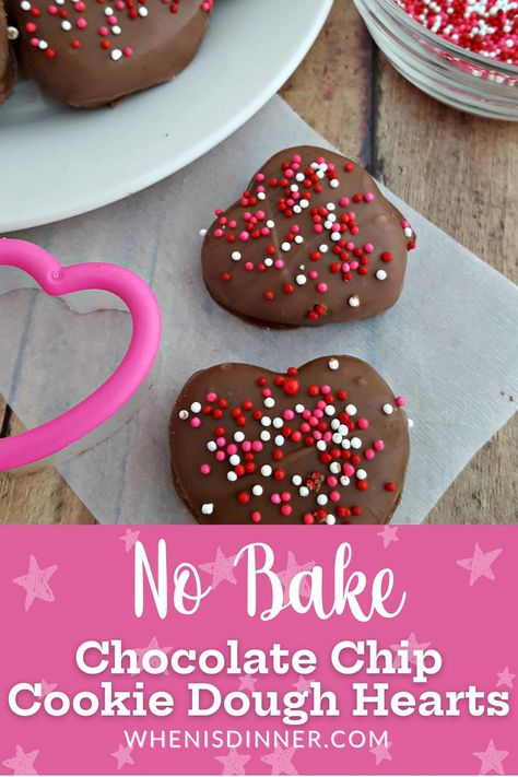 These No Bake Chocolate Cookie Dough Hearts are very easy to make!