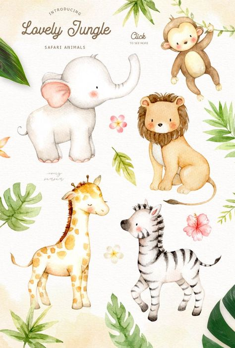 Lovely Jungle Watercolor Clip Art Safari Animal Woodland image 1