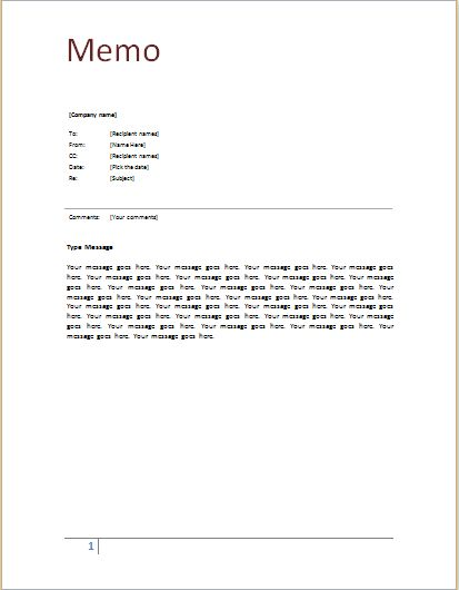 Memo template at word-documents Microsoft Templates - cash receipt voucher word format