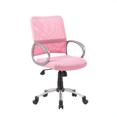 Scranton Co Mesh Back With Pewter Task Office Chair In Pink Walmart Com In 2020 Girls Desk Chair Pink Office Chair Task Chair