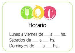 Cartel Horario Continuo Para Restaurantes Y Bares