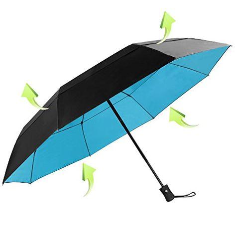 Koler Travel Umbrella Windproof Auto Open Close Double Canopy 46 Inch Large Folding Golf Compact