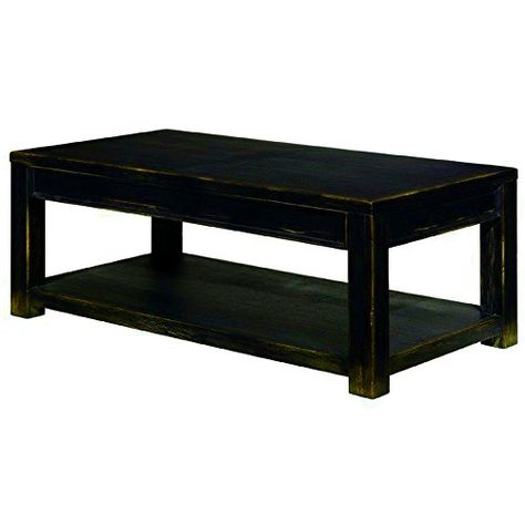 Black Farmhouse Coffee Table With Shelf Rustic Wooden Rectangular Farmhouse Large Cocktail Tab Cocktail Tables Living Room Coffee Table Coffee Table With Shelf