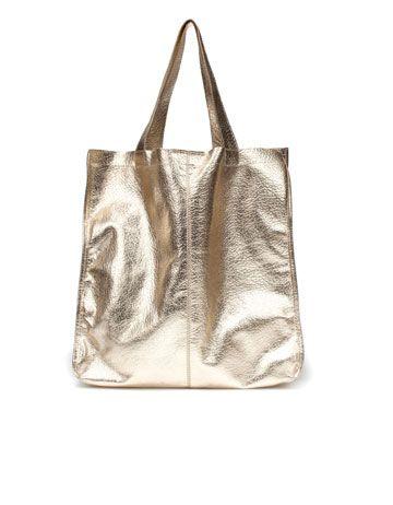 37c21ef879109 Zara metallic shopper