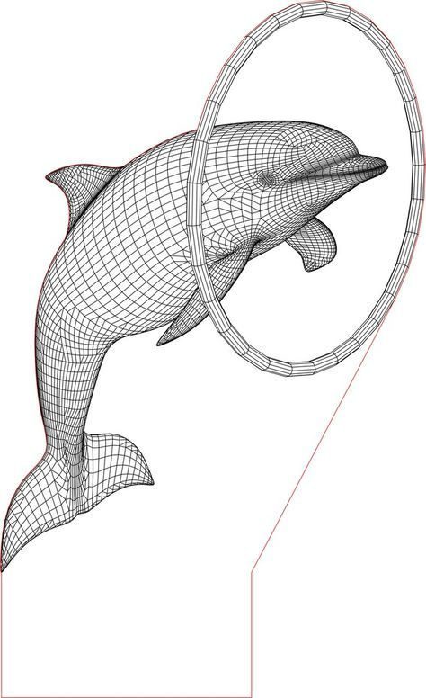 Dolphin 3d Illusion Vector File For Laser And Cnc 3bee Studio 3d Illusion Lamp 3d Illusions Laser Engraved Acrylic