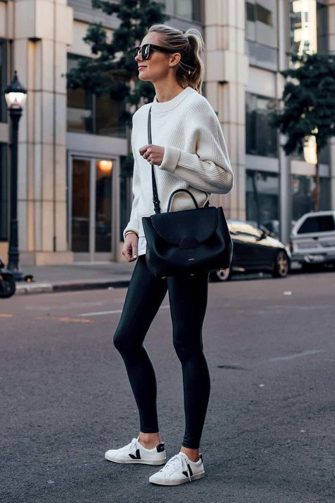 Blonde Woman Wearing Allsaints White Sweater White Tshirt Spanx Black Faux Leather Leggings Veja Espalar White Sneakers Polene Black Handbag Fashion J Legging Outfits, Leggings Outfit Fall, Pullover Outfit, Athleisure Outfits, Sporty Outfits, Leggings Fashion, Sneaker Outfits Women, Sneakers Fashion Outfits, Leggings Style
