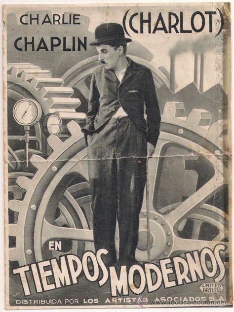 """Póster de la película """"Tiempos Modernos"""" de Charles Chaplin / todocoleccion"""