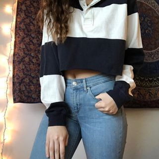 Sold Cropped White And Navy Rugby Shirt Fits Most Sizes Starting Bid At 8 Shipping Is 6 Thrifted Outfits Crop Tshirt Outfit Polo Shirt Outfits