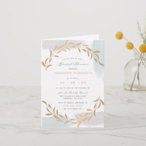 Blue Watercolor Brushed Botanical Bridal Shower Invitation Zazzle Com Minimalist Wedding Invitations Bridal Shower Invitations Engagement Party Invitations