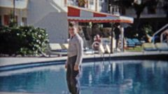 1959: Walking past fancy pool at retro beach hotel style architecture. http://www.pond5.com/stock-footage/56226292?ref=StockFilm keywords:hotel, miami, beach, pool, style, architecture, garden, courtyard, family, couple, kid, boy, 1959, 1950s, 8mm, super8, 16mm, film, old, home movie, vintage, retro, news, tv, archive, nostalgia, memories, throwback, Americana, documentary, editorial, historic, professional, preserve, restore, reality, classic, era, priceless, generation, timeless, humanity…
