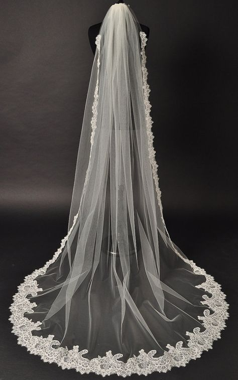 Cathedral Lace Veil Alencon lace bridal by CoutureBrideBoutique, $225.00