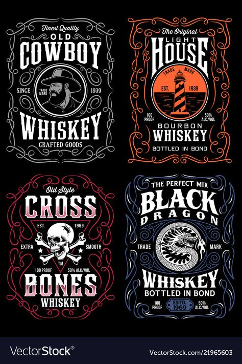 Vintage whiskey label t-shirt graphic collection vector image on VectorStock