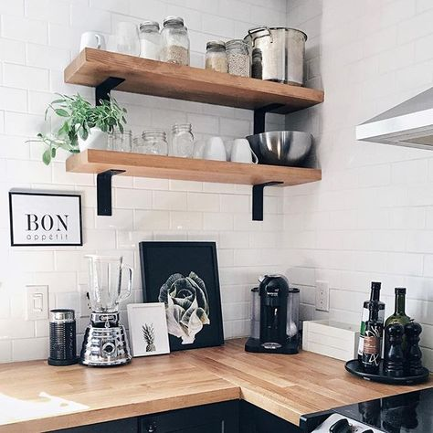 Decorating a kitchen area isn't easy! We love how @woodstockcie added our cool modern still life photo art prints in black and white. ---- Kitchen decor | White and wood decor | DIY Home Decor | Wall Art | Gallery Wall Ideas | Home Decor ideas, kitchen inspo decor | Botanical photography, still life | Modern decor, scandinavian decor, nordic decor ---- Style: P10052, P10015