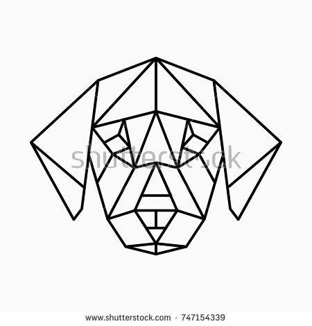 Vector Polygonal Triangular Illustration Of Animal Head Origami Style Outline Geometric Dog Geometric Animals Geometric