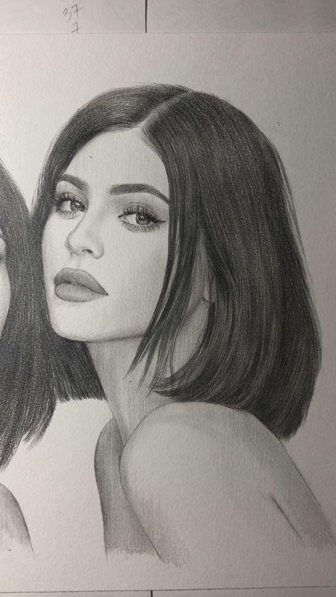 Kylie Jenner pencil portrait. Kardashian's sisters portrait. Part2 #drawing - #drawing #Jenner #Kardashians #Kylie #Part2 #pencil #Portrait #sisters