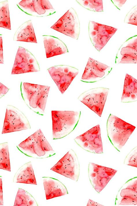 Watercolor Watermelon by katerinaizotova - Handpainted watercolor bright red and green watermelon slices on fabric wallpaper and gift wrap. Juicy red watermelon slices perfect for a summer party or to brighten up a drab kitchen. Food Wallpaper, Iphone Background Wallpaper, Aesthetic Iphone Wallpaper, Aesthetic Wallpapers, Fabric Wallpaper, Watercolor Wallpaper Iphone, Cute Wallpaper Backgrounds, Pretty Wallpapers, Cute Summer Wallpapers