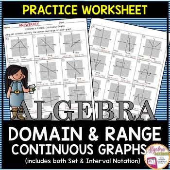 Domain And Range Continuous Graphs Practice Worksheet 1 Example And 23 Problems Students Will Use Set Notati Set Notation Sorting Cards Practices Worksheets