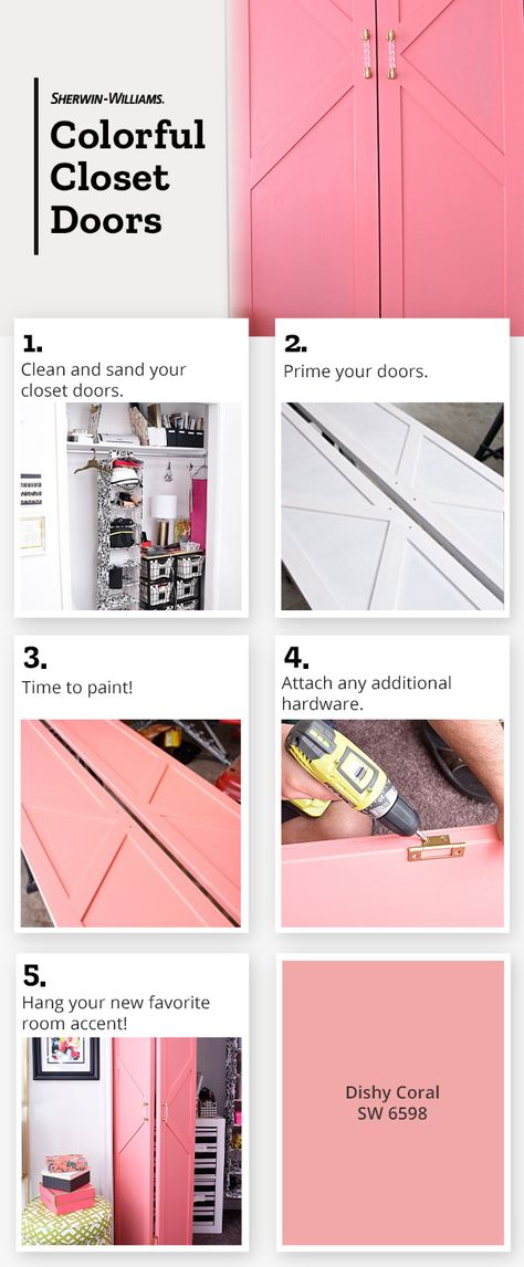 Sherwin-Williams show you how color can make a serious impact when it's in unexpected places, like closet doors. So don't hold back - go big on bold color. Painted Closet, Big Girl Rooms, Do It Yourself Home, Closet Doors, Diy Home Improvement, New Room, Architecture, Home Projects, Decoration