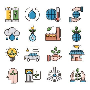 Ecology Filled Outline Icons Set Battery Clean Energy Eco Friendly Png And Vector With Transparent Background For Free Download Icon Set World Icon Library Icon