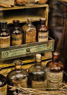 Apothecary Bottles, Antique Bottles, Vintage Bottles, Bottles And Jars, Apothecary Decor, Old Glass Bottles, Altered Bottles, Old Medicine Bottles, Herbal Medicine