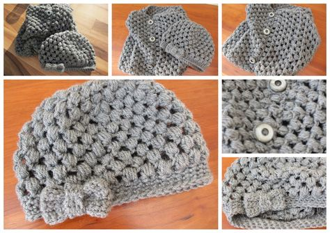 Crochet puff stitch hat (tutorial)