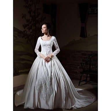 Ball Gown Long Sleeves Cathedral Train Luxury Wedding Dress With Beaded Appliques – CAD $ 335.72