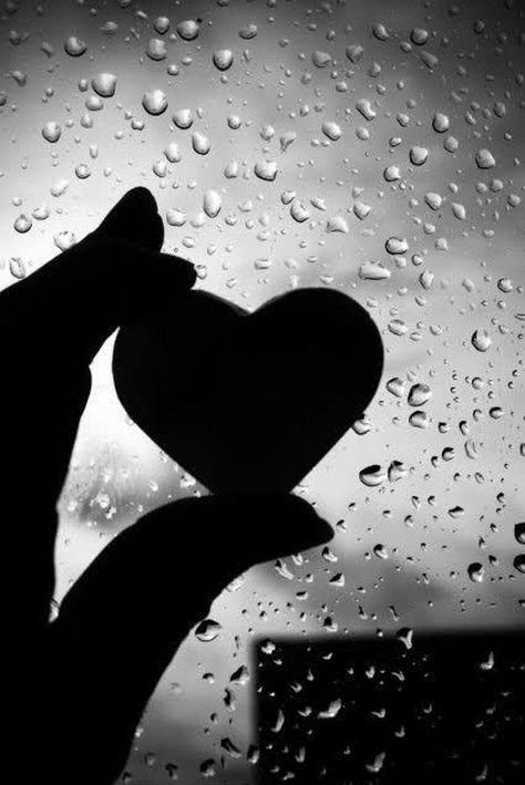 I love the rain black and white rain heart window hand wet