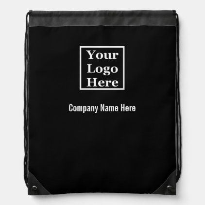Template Black And White Your Logo Here Drawstring Bag Zazzle Com In 2020 Custom Message Promotional Gifts Black And White