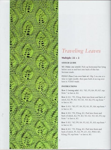 Branch With Leaves Knitting Stitch Knitting Stitches Free