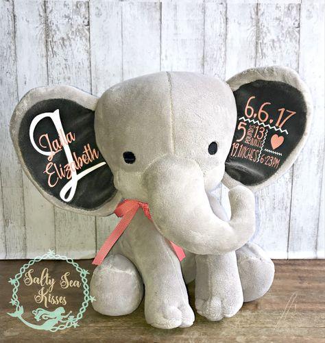 Elephant Birth Statbluebirth announcementPillow14x14velvetcustom printepersonalizedkidbaby shower giftunique baby giftbaby gift